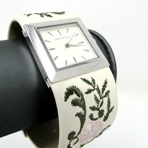 Tokyobay Square silver white band floral watch